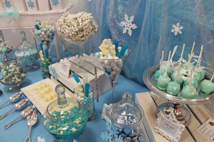 Beautiful blue candy table for office party