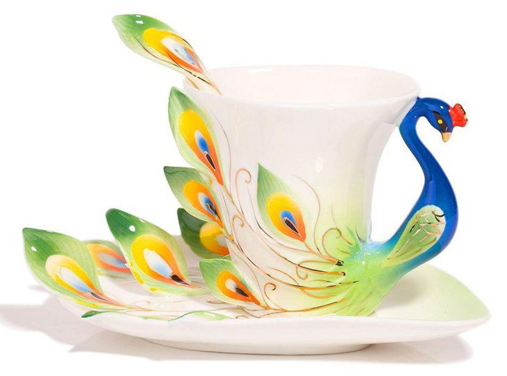 Beautiful ceramic peacock cup and saucer centerpiece