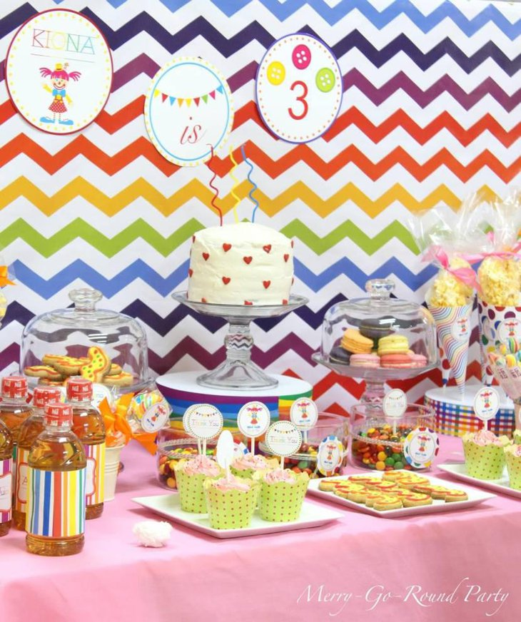 Beautiful Dessert Table With Rainbow Decorations