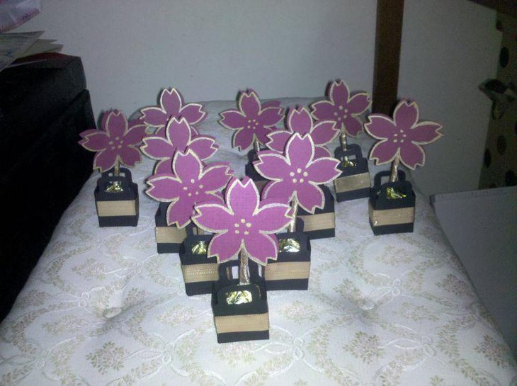 Beautiful floral retirement party favors