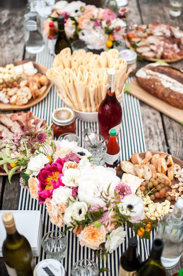 Beautiful food table setup for garden party