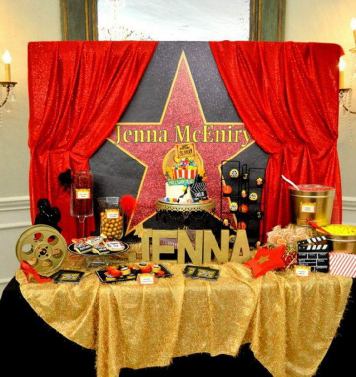 Beautiful Hollywood styled birthday table in red and golden tones