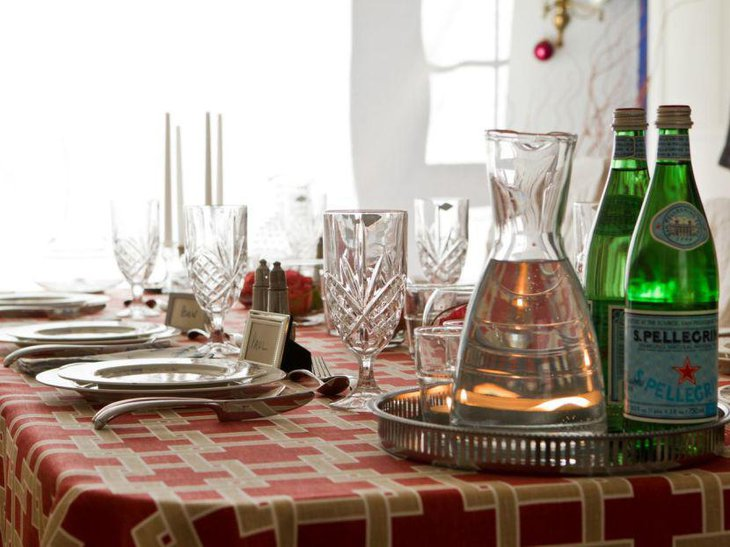 Beautiful party table setting with silver beverage tray