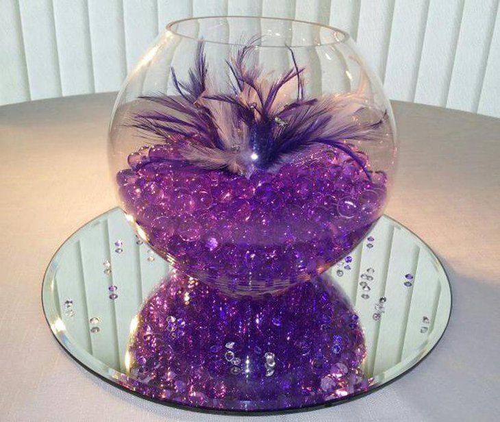 Beautiful purple reception party table centerpiece