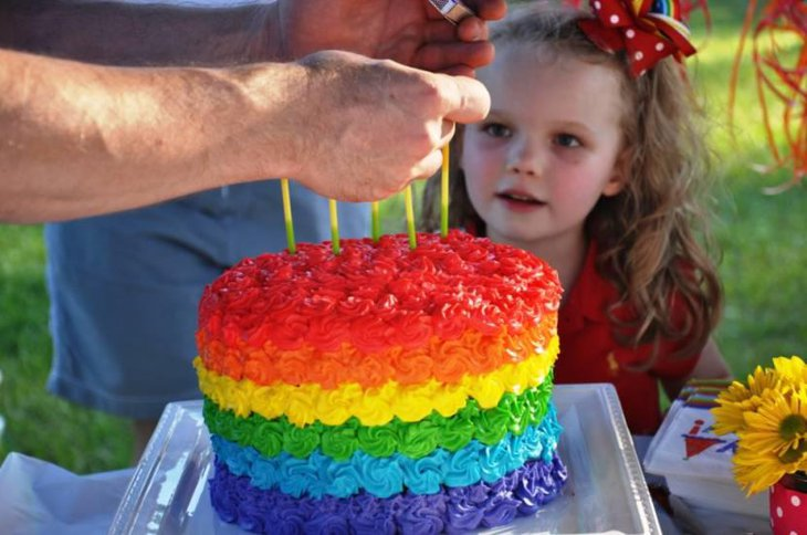 Beautiful Rainbow Birthday Cake With Flowers