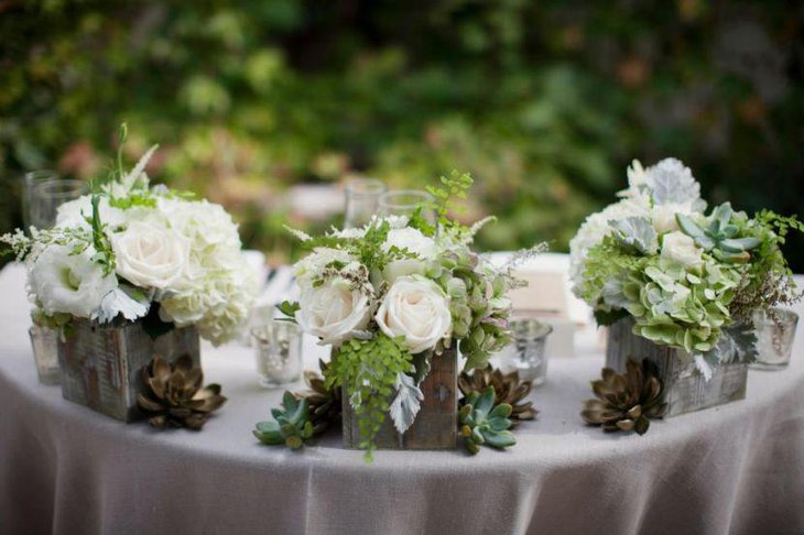 Beautiful Rustic Wedding Table Setting With Wooden Boxes Filled With White Roses