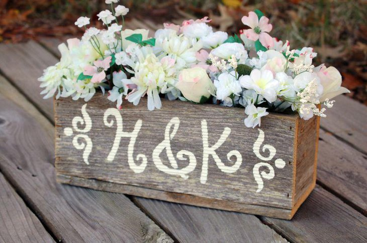 Beautiful Rustic Wooden Box Wedding Table Centerpiece With Flowers
