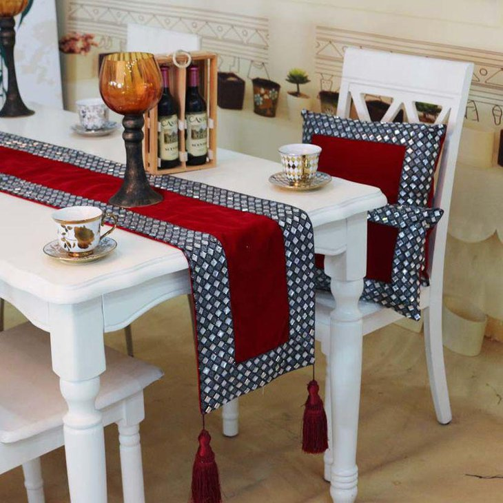 Beautiful Sequin And Red Wedding Table Runner