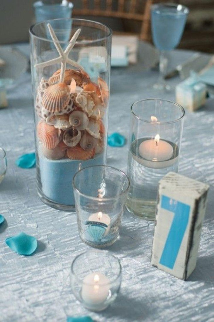 Top beach theme wedding centerpieces ideas table