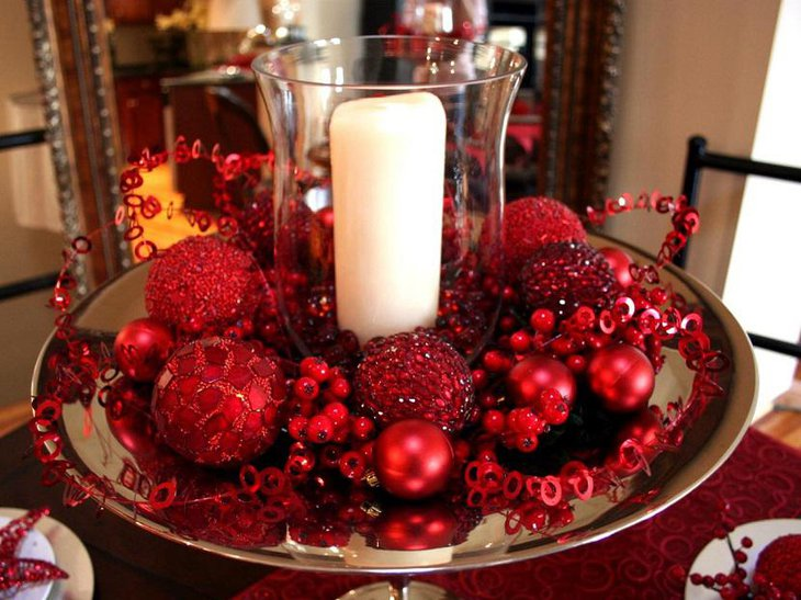Beautiful Valentine Table Cenetrpice With A Large Candle