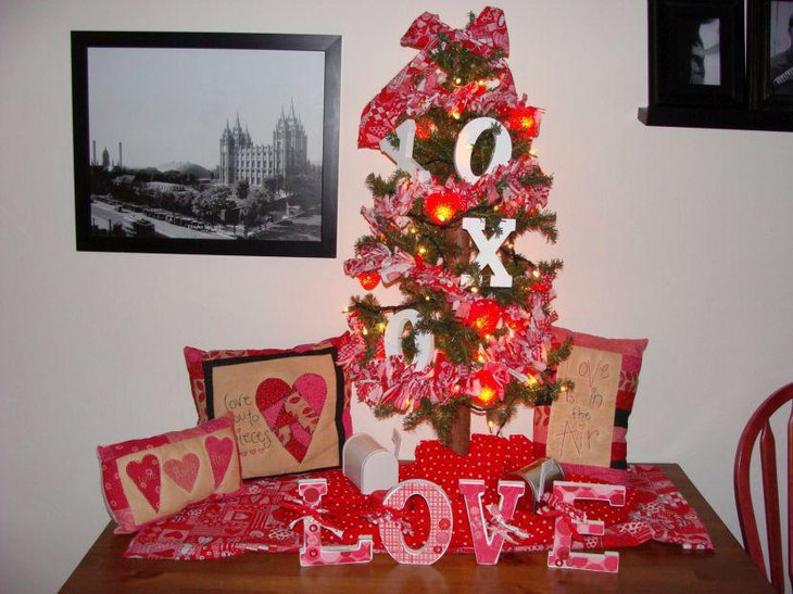 Beautiful Valentine tree centerpiece on table