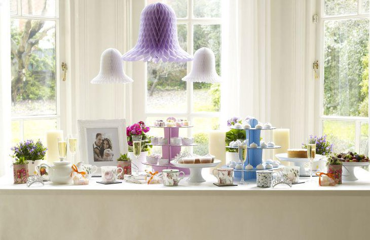 Beautiful vintage accented tea party dessert table decor