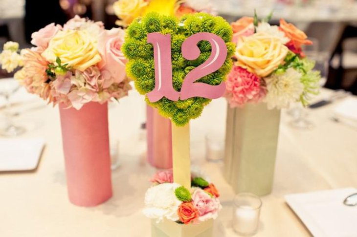 Beautiful wedding table number decor