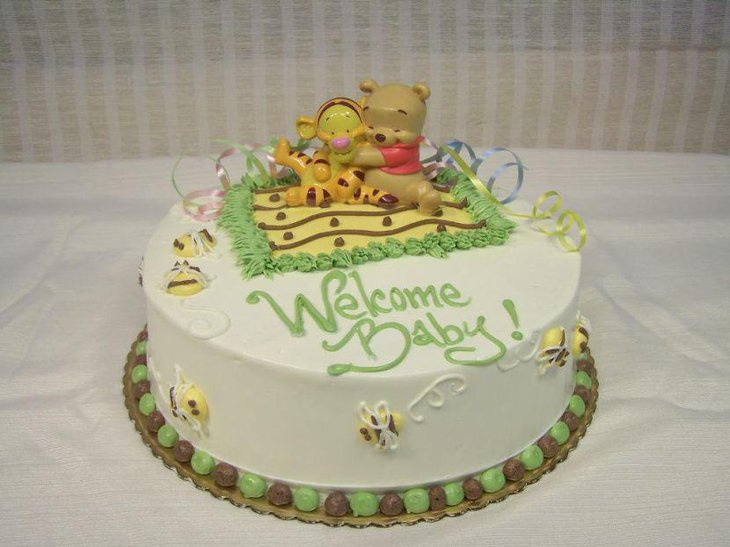 Beautiful welcome baby inscribed Winnie The Pooh cake