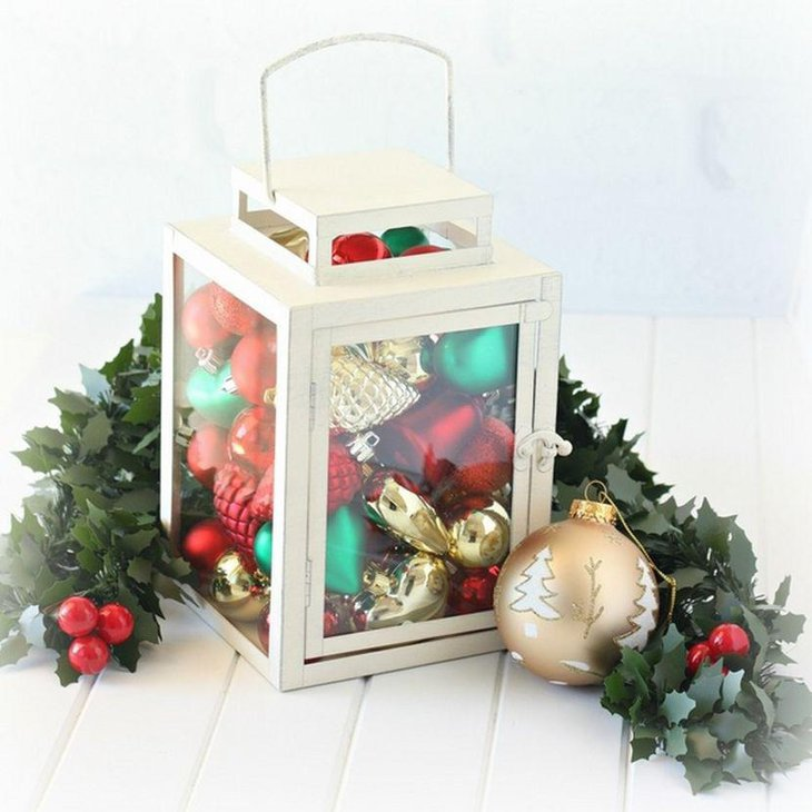 Beautiful White Christmas Lantern Table Centerpiece With Ornaments