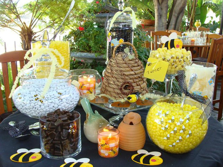 Bee Themed Baby Shower Candy Table Decorations