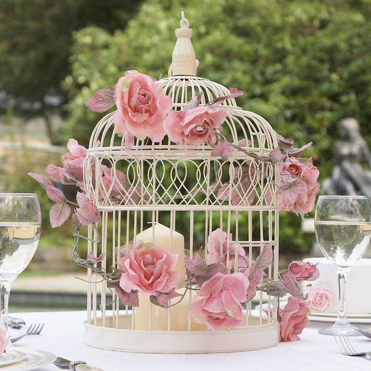 Birdcage Wedding Table Centerpiece With Candle and Pink Roses