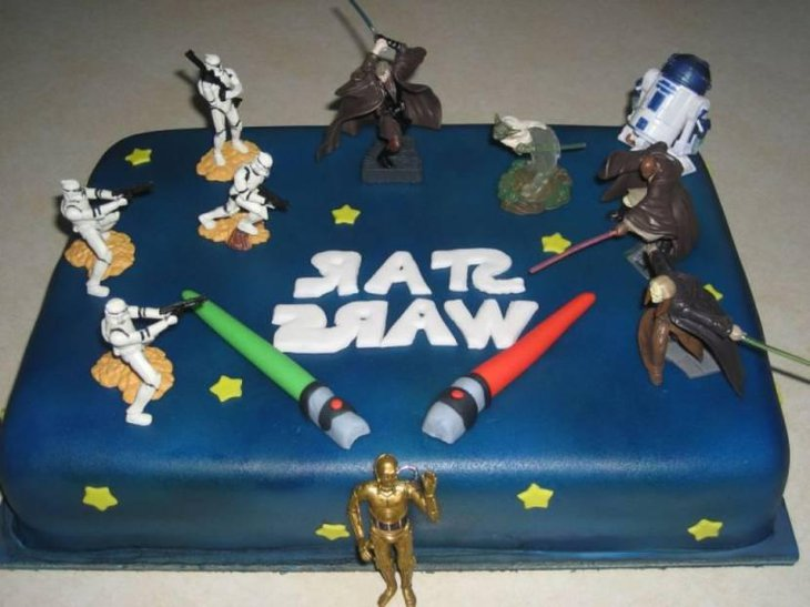 Birthday Cake With Star Wars Characters