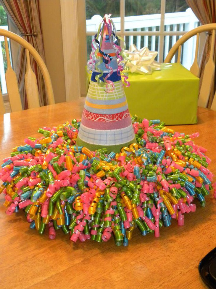 Birthday cap and buntings summer birthday table centerpiece