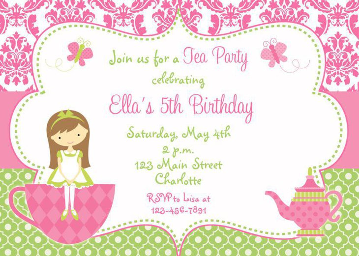 Birthday tea party invitation for girls