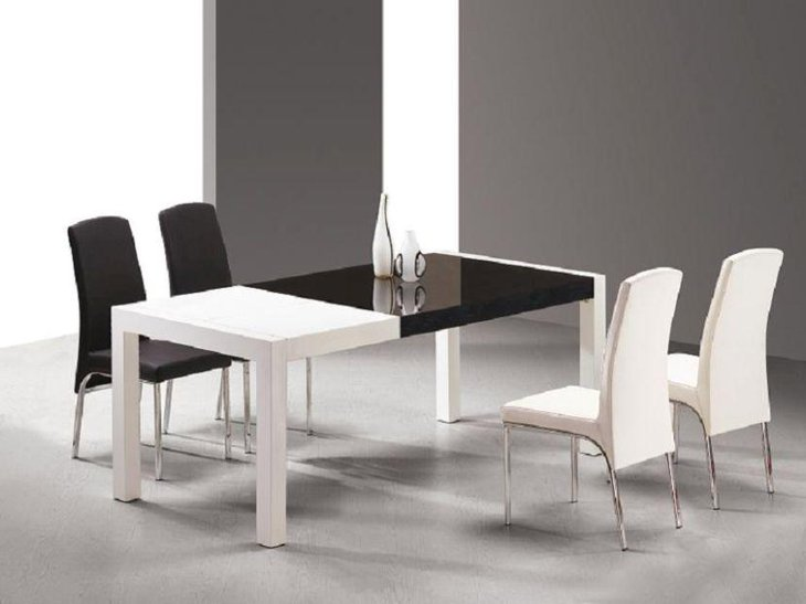 Black and white modern dining table design