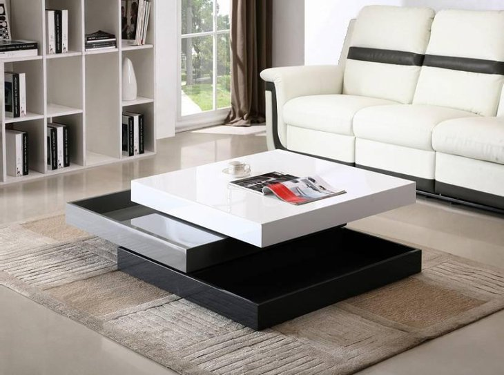 Black and White Rotating Coffee Table