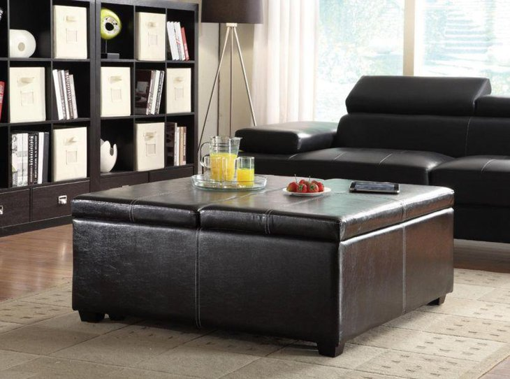 Black leather coffee table with storage space