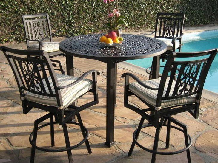 37 elegant round dining table ideas table decorating ideas for Wrought iron dining set outdoor