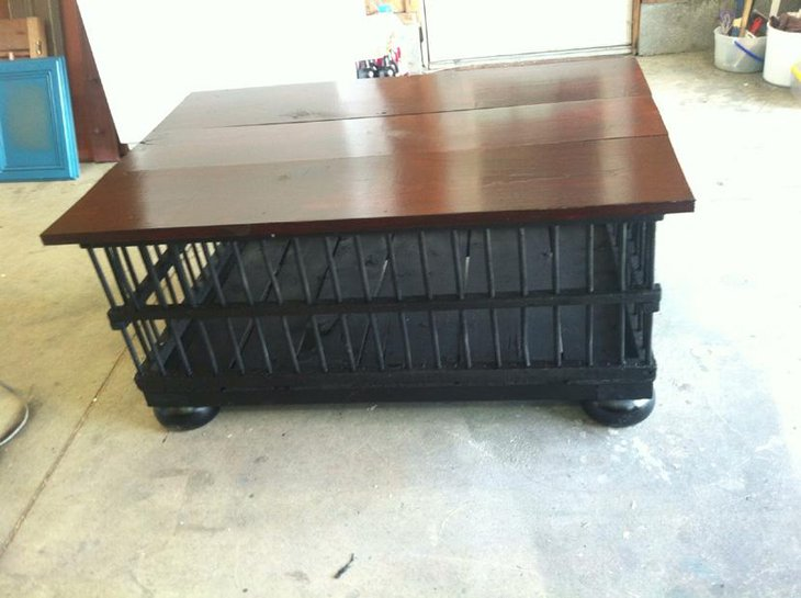 Black Painted Chicken Crate DIY Coffee Table
