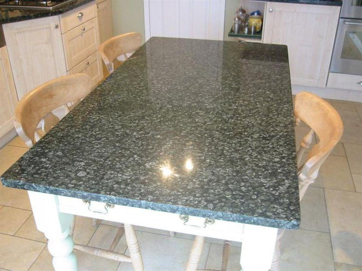 Black Patterned Granite Top Kitchen Table