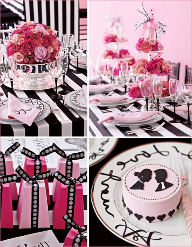 Black White and Pink Themed Bridal Shower