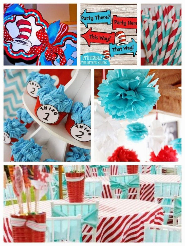 Blue accented twin baby shower decorations