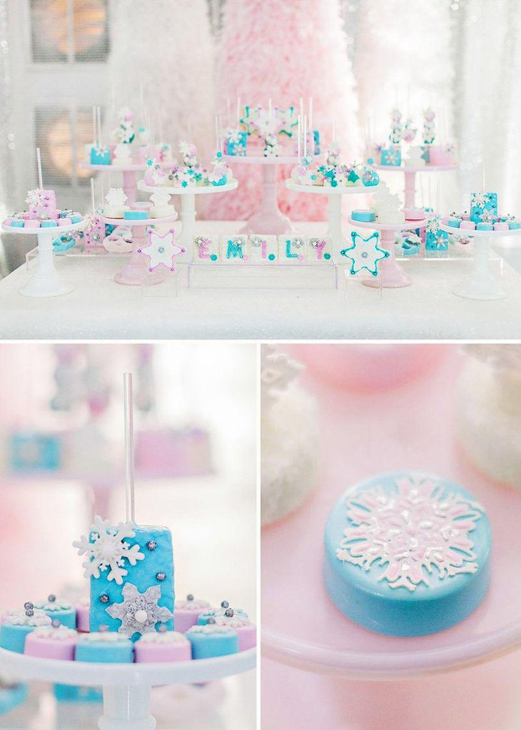 Blue and pink Frozen dessert table decor