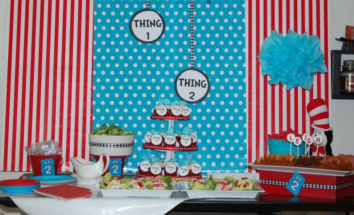 Blue and red themed twin baby shower table decor