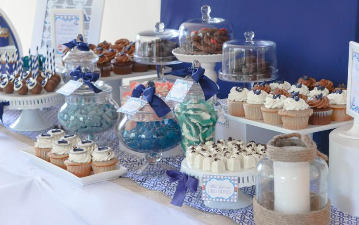 Blue and White Table Decor for Bridal Shower