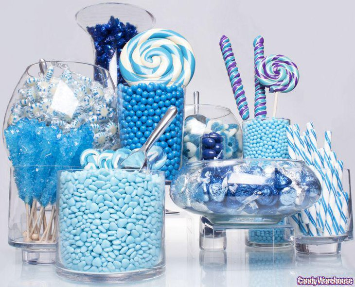 Blue candy table for office party