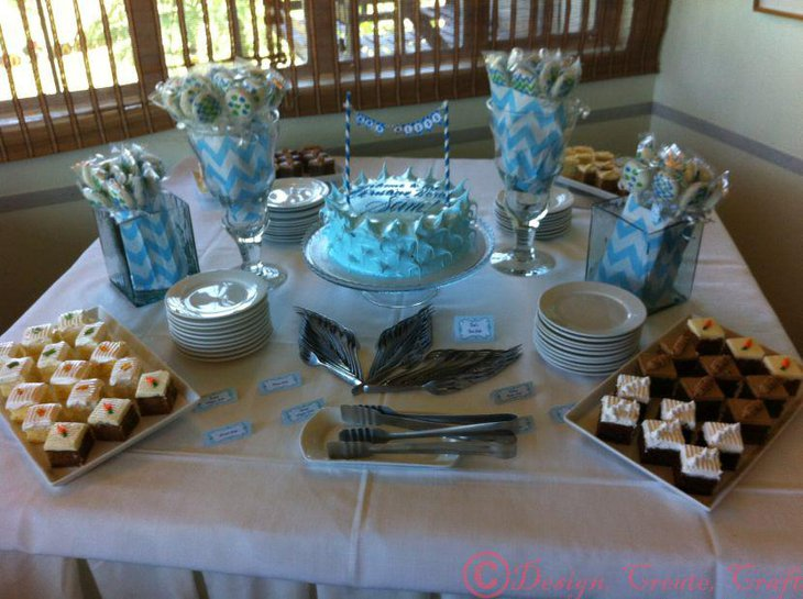 Blue Christening candy table