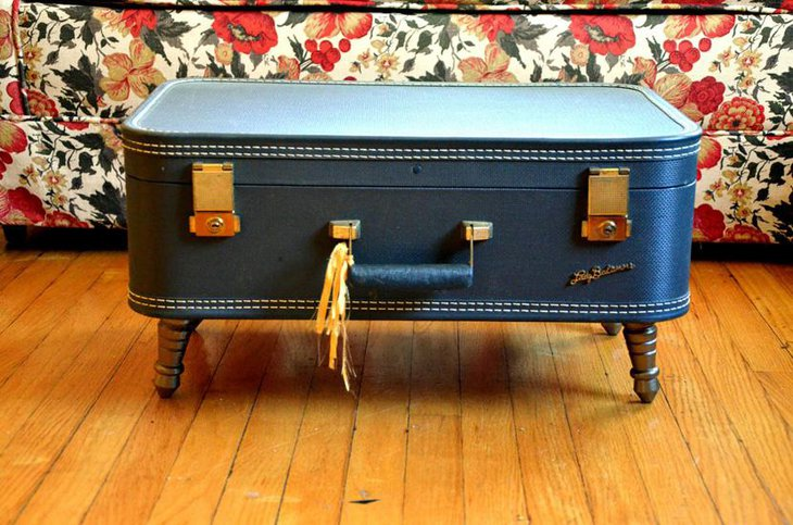 Blue Classy DIY Suitcase Coffee Table