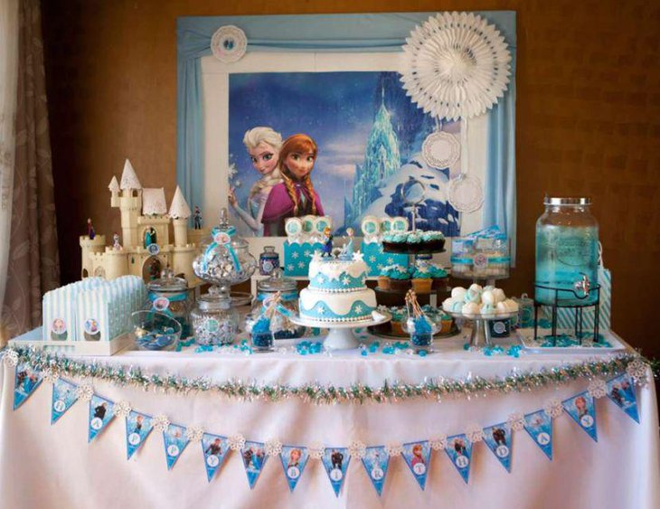 Blue Frozen themed birthday candy table