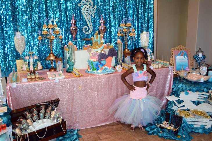 Blue Mermaid candy table decor for young girls