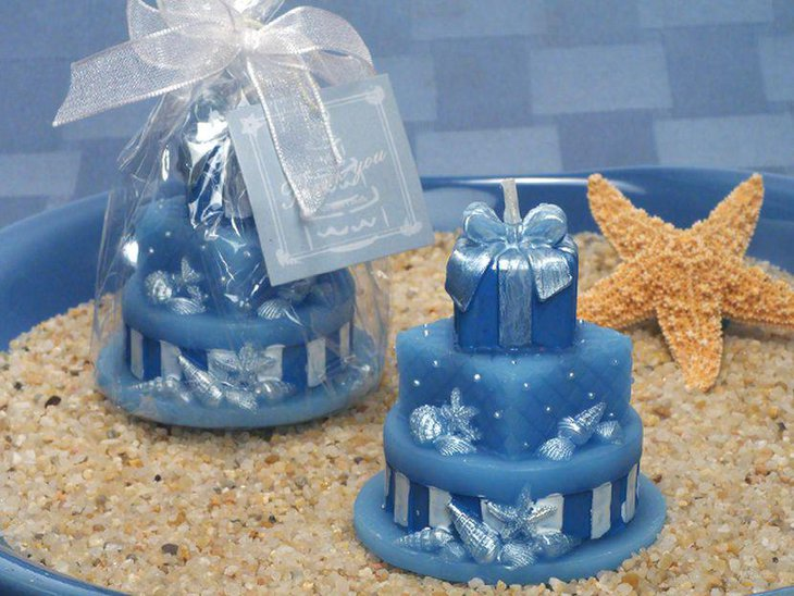 Blue sandy wedding table centerpiece idea