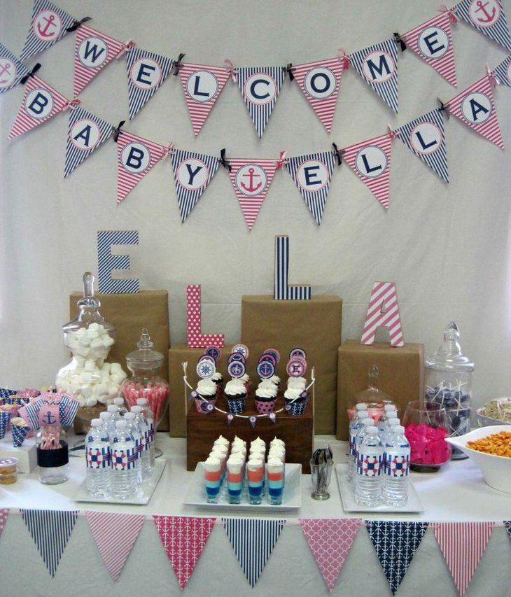 Blue striped nautical baby shower table decor