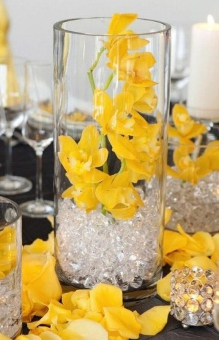 Bright Budget Wedding Centerpiece with Yellow Flowers