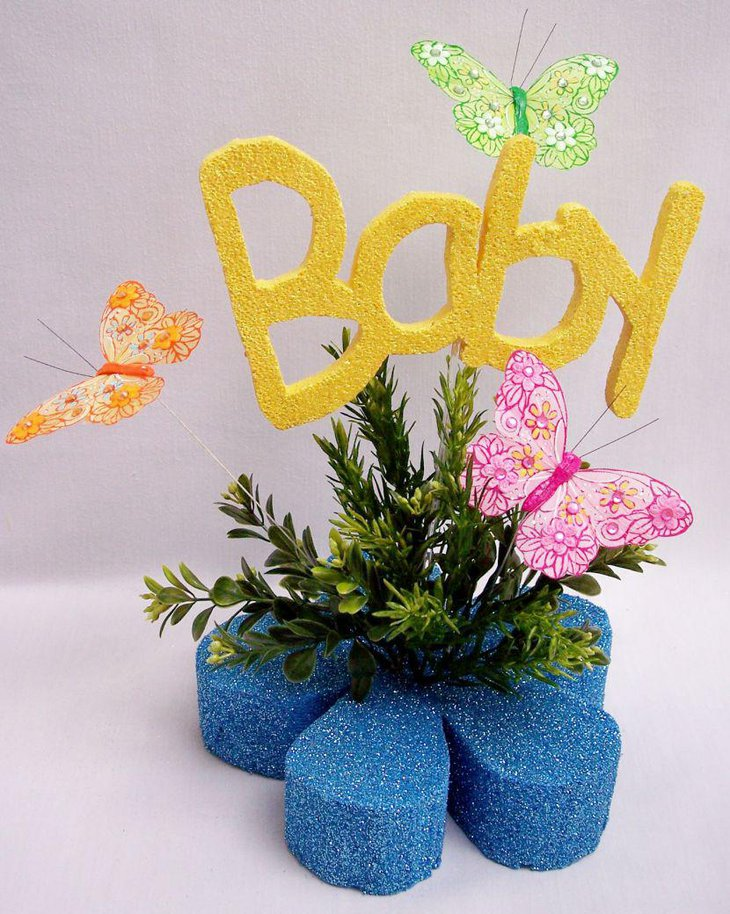 Bright butterfly baby shower centerpiece idea