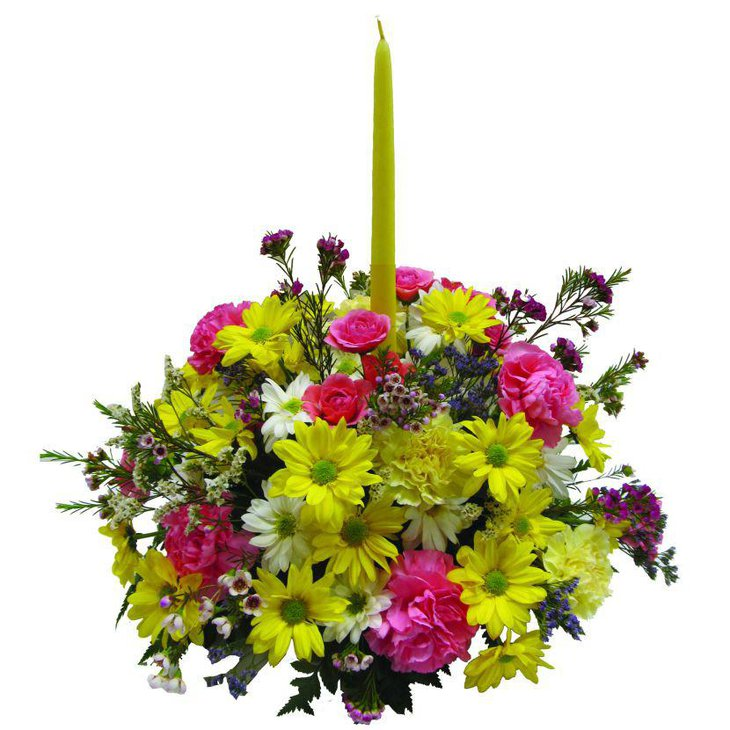 Bright spring candle centerpiece with flowers