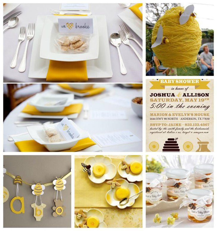 Brown And Yellow Bee Themed Baby Shower Table Decorations