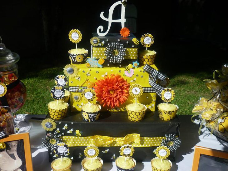 Bumble Bee Themed Baby Shower Dessert Table
