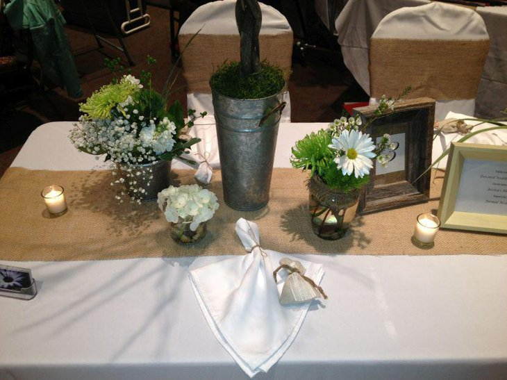 Burlap accents lend a country feel to this wedding table