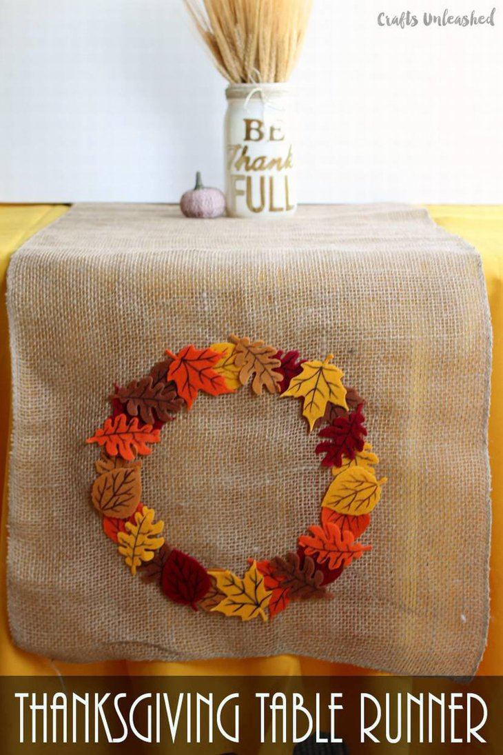 Burlap Fall Leaves Table Runner for Thanksgiving