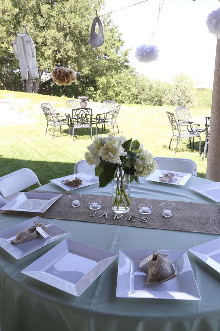 Burlap Table Runner With Sage Centerpiece